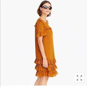 J. Crew Dresses - J Crew Ruffle Dress in Crinkle Chiffon 16 Caramel